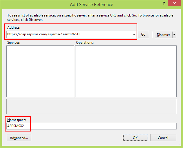 Add Service Reference: ASPSMS SOAP Web Service